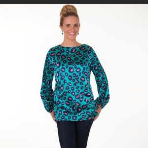 Tracy Negoshian Leopard Print Top Sz M